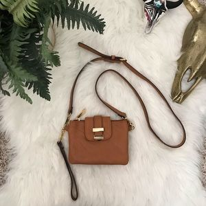 Charming Charlie Camel Brown & Gold Crossbody Bag
